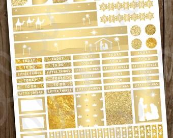 Gold Christmas Planner Stickers | PRINTABLE Instant Download | Nativity Christmas Planner Stickers | Religious Gold December | Erin Condren