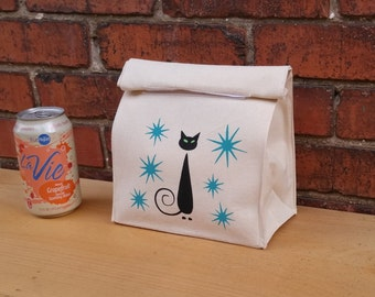 """Black Cat SMALL Mid Century Reusable Lunch Bag, Eco Friendly Bag 10'' Tall,  7"""" Wide, 4"""" Deep"""
