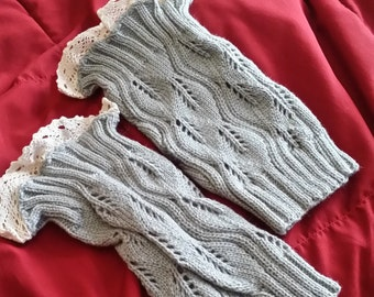 Boot Cuffs - Light Grey Knit with Lace