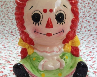 Raggedy Ann Hand-Painted Ceramic Container