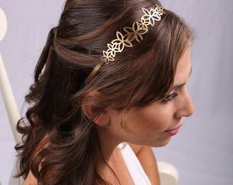 Bridal Headband, Bridal gold Headband, Bridal Headpiece, Flowers Headpiece, Headband, Greek Headband, Gold Headband, Gold Head piece