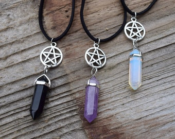 Pagan jewelry etsy pentagram and crystal necklace pentacle wiccan jewelry pagan jewellery opalite moonstone crystal aloadofball Choice Image
