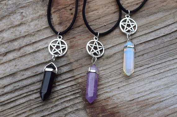 Pentagram and Crystal Necklace, Pentacle, Wiccan Jewelry, Pagan Jewellery, Opalite Moonstone Crystal, Spiritual Choker, Five Point Star