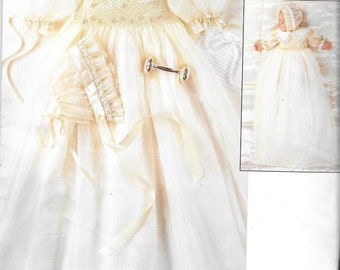 Vogue 1755 -  OOP - Strasburg Heirloom Collection - Infants Smocked Christening/Blessing Gown with Bonnet - sizes NB, S, M - New/uncut