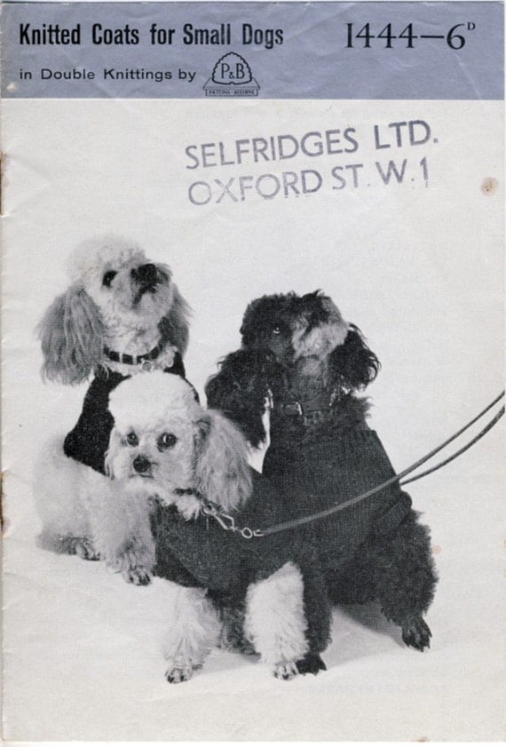Knitted Coats for Small Dogs. Original Vintage Patons