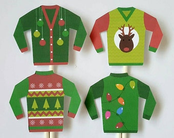 Ugly sweater cupcake toppers - set of 12, cake toppers, holiday party, Christmas party, work Christmas party