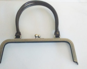Metal purse frame with sewing holes 27 cm 10.63 inches, bronze supplies, purse frame with brown leather handle, big purse clasp with handle