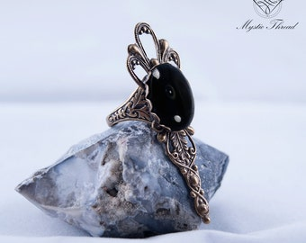 Black agate gothic victorian ring-gothic ring-victorian ring-jet black ring-adjustable ringgothic jewelry-victorian jewelry