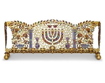Hanukkah, Menorah, Temple, Judaica, Made in Israel, Jewish Holidays, Brass, Handmade