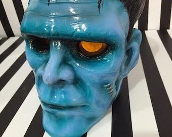 Large Hand Painted  Ceramic Frankenstein Monster Head
