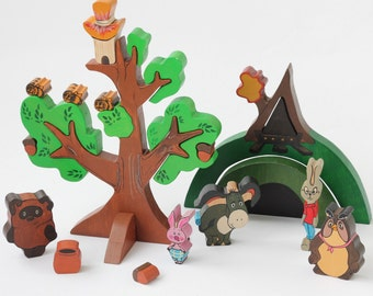 Winnie the pooh Russian characters wooden figures playing Set