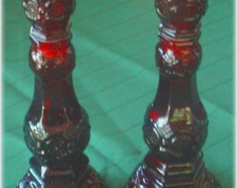 Avon Ruby Red Cape Cod Candle Stick Holders,Pair