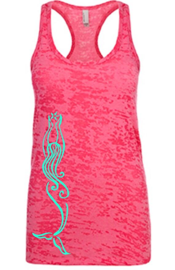 Racerback Burnout Tank   Mermaid   Workout Tank  Ladies Tank   Crossfit   summer   Beach cover up   Running apparel