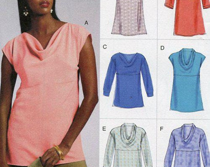 FREE Us SHIP Vogue Sewing Pattern 8816 Easy Option Draped Empire Tops 2012 Size 6 /14 14/22 plus size  FF New Condition