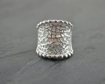 Unique Silver Abstract Mosaic Statement Ring - Geometric Prism Wide Band - Silver Triangle Jewelry