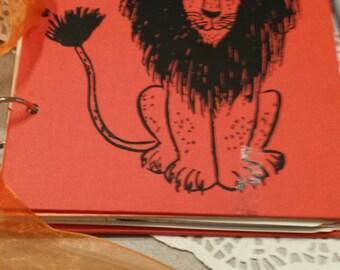 Altered Book Journal Lion Journal Orange Journal Scrapbook - Notebook Diary Prayer Art Smash - Roar Journal Notebook Rings