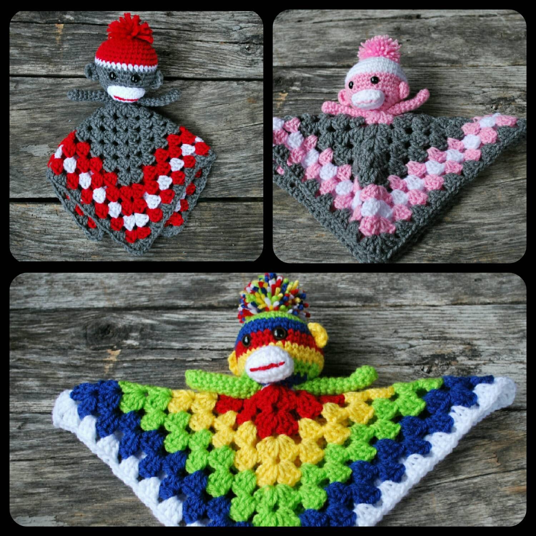 Amigurumi Crochet Sock Monkey : Sock Monkey baby lovey/amigurumi/ crochet