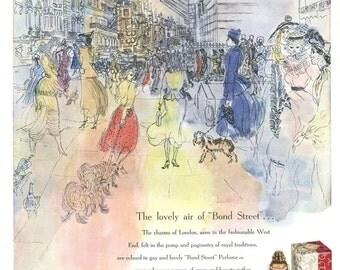 1949 Ad Print - Bond Street Yardley Perfume London West End Art