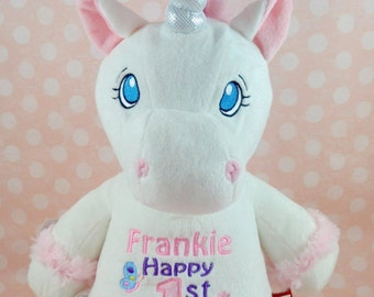 Personalised white unicorn, perfect gift for flower girl or 1st birthday or a unicorn lover