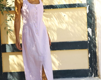 Vintage boho maxi button down lilac pink  linen dress.size s