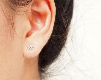Tiny Evil Eye Stud, Eye Earrings, 925 Sterling Silver, Eye Jewelry, Everyday Jewelry, Gift Idea - SB34