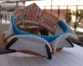 Winter Sun bangle inspired by Contemporary geometric beadwork
