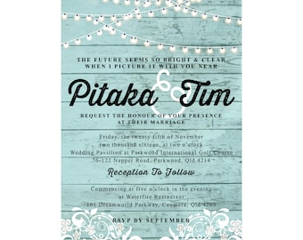 Wedding Invitation - Vintage Chic, Duck Egg Blue White Wash with Fairy Lights