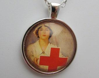 Vintage Red Cross Nurse Photo Pendant, Nurse Pendant, Nurse Necklace, Nurse Jewelry, Nurse Graduation Gift, Glass Nurse Photo Jewelry