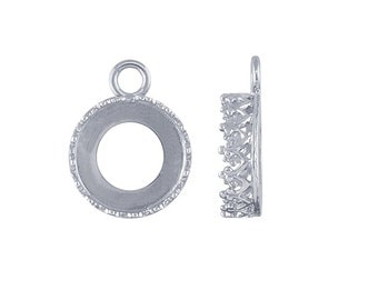 Sterling Silver 10mm Round Gallery Wire Bezel Component Mounting