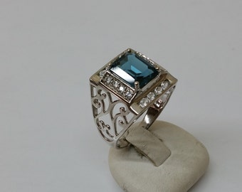 Ring Silver 925 Crystal stones SR703 teal/clear