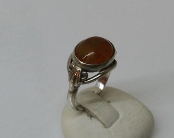 Old, antique amber ring 900 silver SR210
