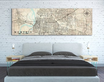 MEMPHIS TN Canvas Print Tennessee TN Memphis Vintage map Memphis City Horizontal Large Wall Art Vintage map antique home decor old map gift