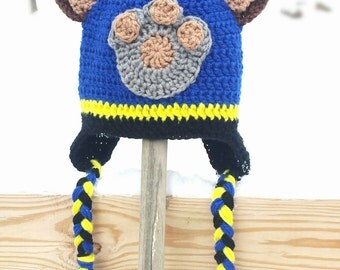 Crochet Paw Patrol Chase Ear Flap Beanie Hat with Ears- Adult Small, Medium, and Large Sizes