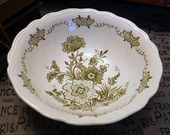 Vintage (c.1970s) J&G Meakin / Royal Staffordshire Hathaway green transferware open vegetable/serving bowl. Made in England.