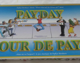 Payday board game.  Vintage 1994 by Parker Bros. Bilingual (English/French) Canadian issue of the game.  99% complete.