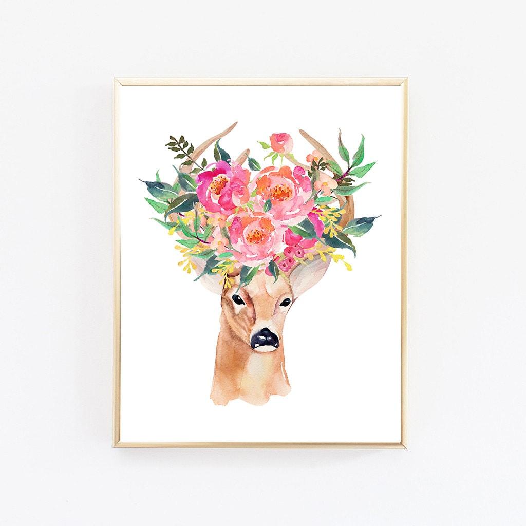 Deer art print bohemian wall art boho decor office prints for Wall decor paintings