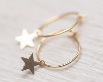 Star hoop earrings, small hoop earrings, star earrings, star pendants, gentle earrings, girls earrings, gift for daughter, spiritual jewelry