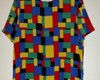 Colorful geometric blouse Style Twiggy 60'sixties