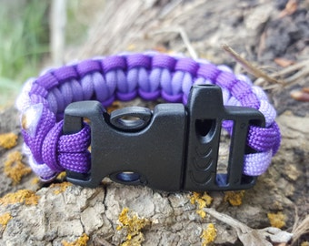 Survival Paracord Bracelet with Emergency Whistle Purples