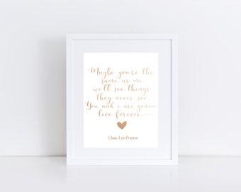 Oasis Live Forever Lyric Print, Real Foil Print, Oasis Print, Home Decor, Wall Art, Gold Foil