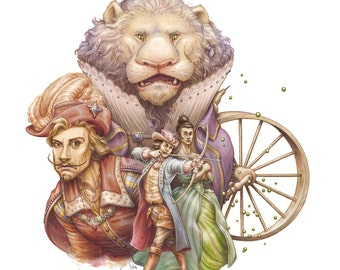 Fairy Tale Art Print: The King with the Lion