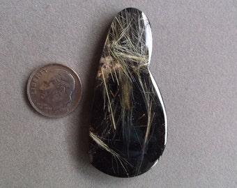 Rutilated Quartz over Black Obsidian Doublet Designer Cabochon from Brazil