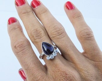 Sterling Silver Ring with Black Jasper Gemstone and Swarowski Zircones / Diamonds upgrade option available