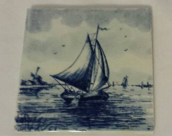 Vintage Handpainted Delft Tile Wall Hanging Sailboat Made in Holland
