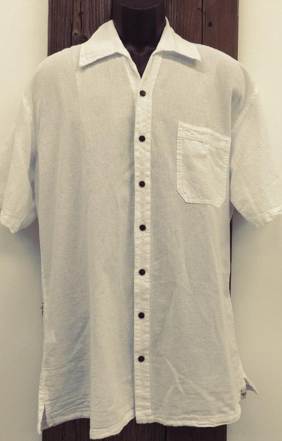 Men 39 S Beach Shirt Hand Made White Organic Peruvian Pima