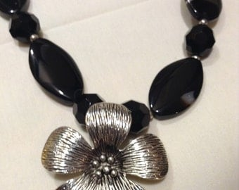 """Vtg """"AGATE Stone Necklace"""" Large Blk & White Sterling Beads Necklace Set 935-1"""