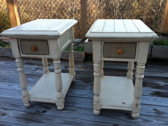 White Nightstand Side Table: Nightstand End Table Cream Ivory White Wood By