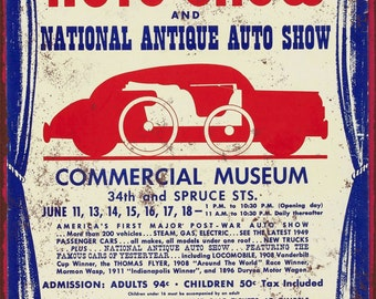 1949 Philadelphia Auto Show Vintage Look Reproduction Metal Sign