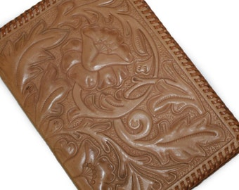 Vintage Hand Tooled Leather Wallet Clutch Hand Stitched Floral Tooling Trucker size