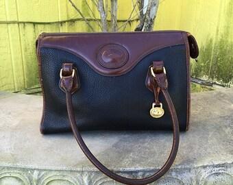 Vintage Pebbled Leather Dooney and Bourke Purse, Handbag, Black, Brown